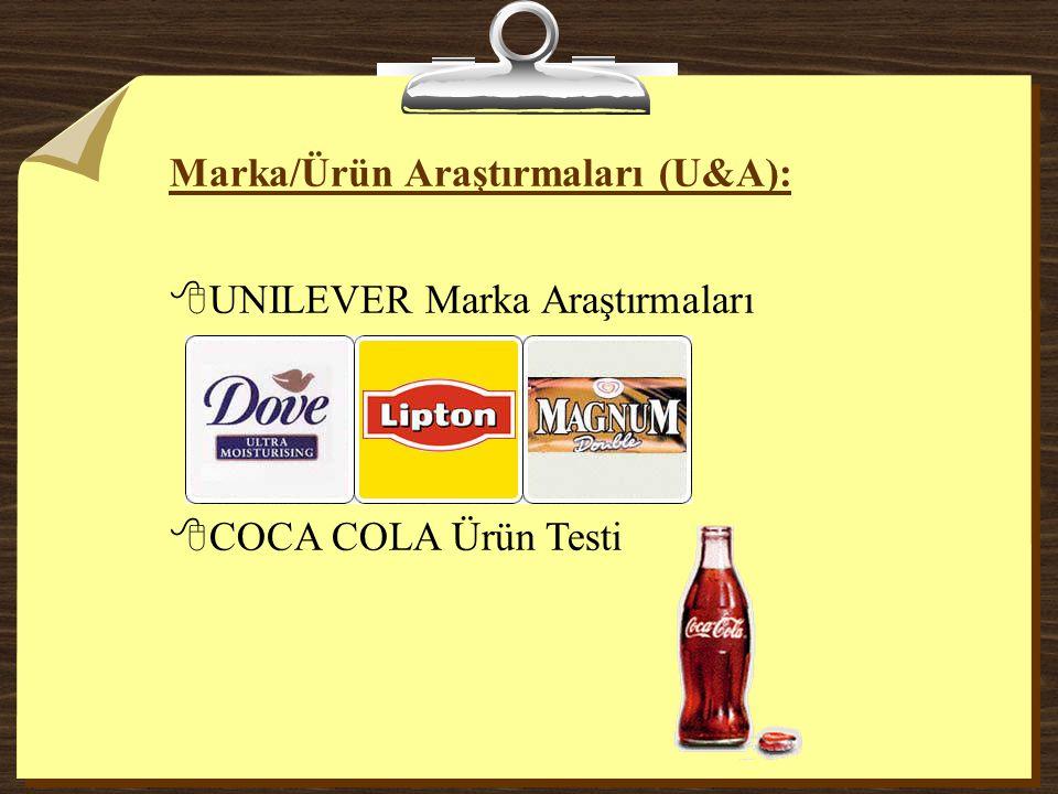Marka/Ürün Araştırmaları (U&A): 8UNILEVER Marka Araştırmaları 8COCA COLA Ürün Testi