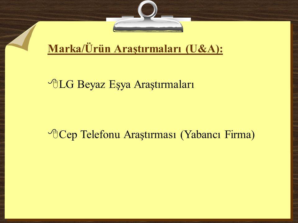 Marka/Ürün Araştırmaları (U&A): 8LG Beyaz Eşya Araştırmaları 8Cep Telefonu Araştırması (Yabancı Firma)