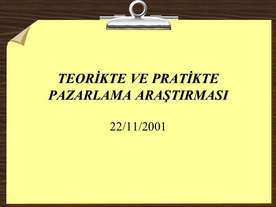 TEORİKTE VE PRATİKTE PAZARLAMA ARAŞTIRMASI 22/11/2001