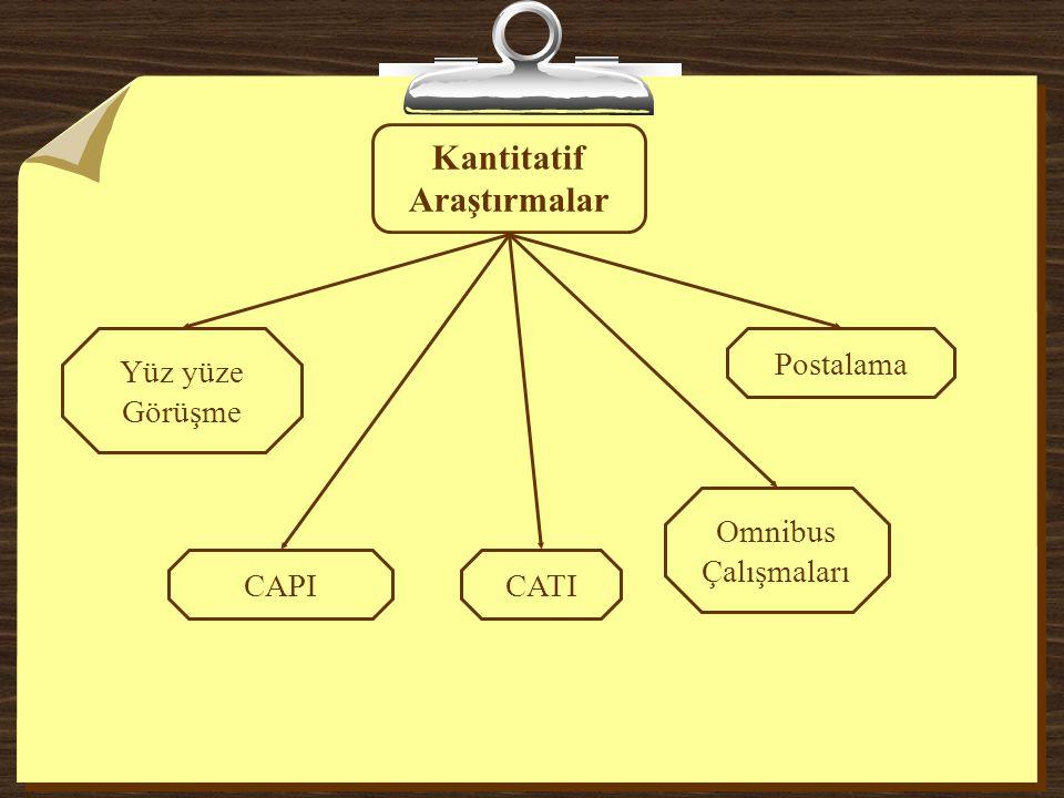 Kantitatif Araştırmalar Yüz yüze Görüşme CATI Postalama CAPI Omnibus Çalışmaları