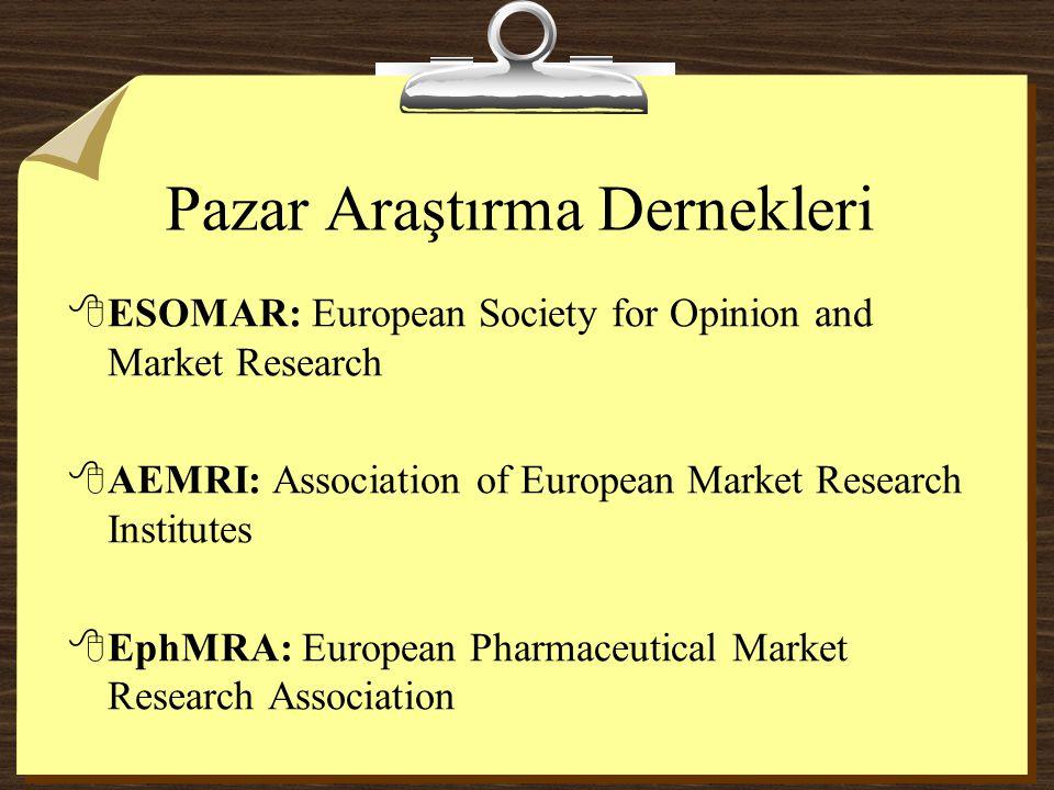 Pazar Araştırma Dernekleri 8ESOMAR: European Society for Opinion and Market Research 8AEMRI: Association of European Market Research Institutes 8EphMR