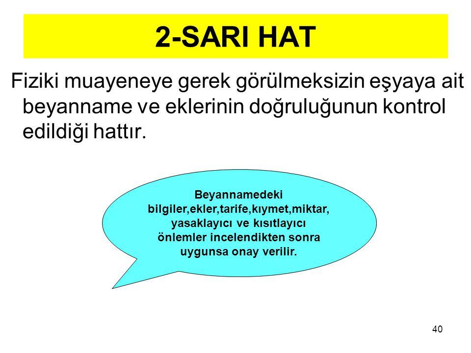 40 2-SARI HAT Fiziki muayeneye gerek görülmeksizin eşyaya ait beyanname ve eklerinin doğruluğunun kontrol edildiği hattır. Beyannamedeki bilgiler,ekle