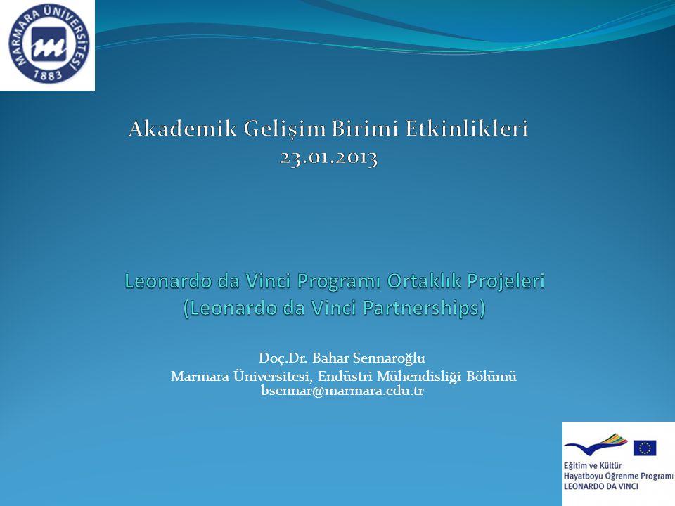 Doç.Dr. Bahar Sennaroğlu Marmara Üniversitesi, Endüstri Mühendisliği Bölümü bsennar@marmara.edu.tr