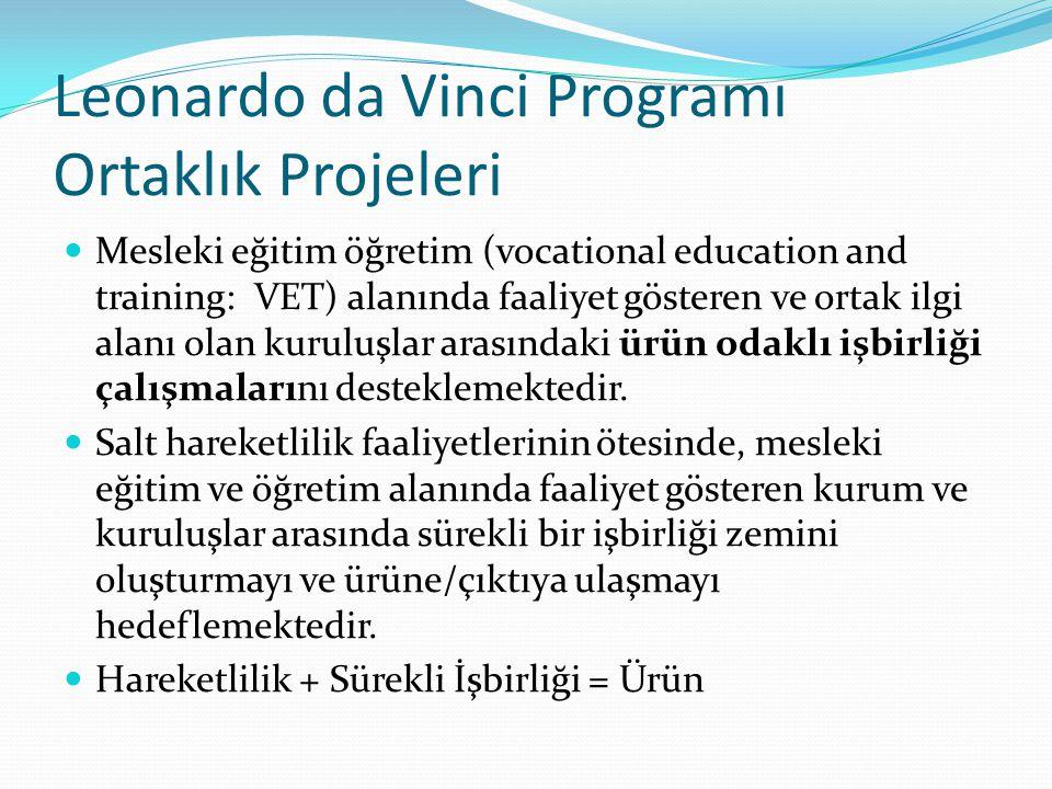 Leonardo da Vinci Programı Ortaklık Projeleri Mesleki eğitim öğretim (vocational education and training: VET) alanında faaliyet gösteren ve ortak ilgi alanı olan kuruluşlar arasındaki ürün odaklı işbirliği çalışmalarını desteklemektedir.