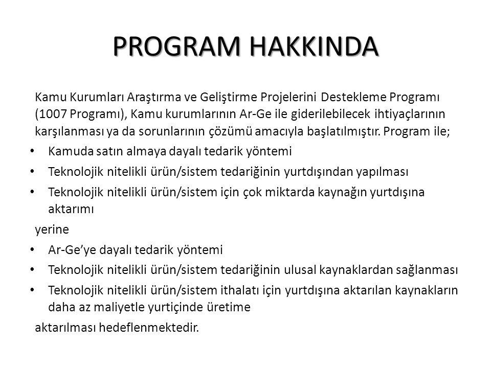 PROGRAM HAKKINDA Kamu Kurumları Araştırma ve Geliştirme Projelerini Destekleme Programı (1007 Programı), Kamu kurumlarının Ar-Ge ile giderilebilecek i
