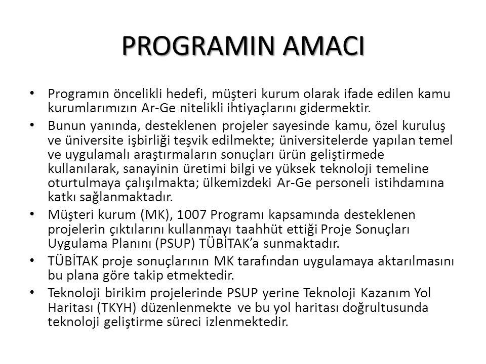 PROGRAMIN AMACI Programın öncelikli hedefi, müşteri kurum olarak ifade edilen kamu kurumlarımızın Ar-Ge nitelikli ihtiyaçlarını gidermektir. Bunun yan