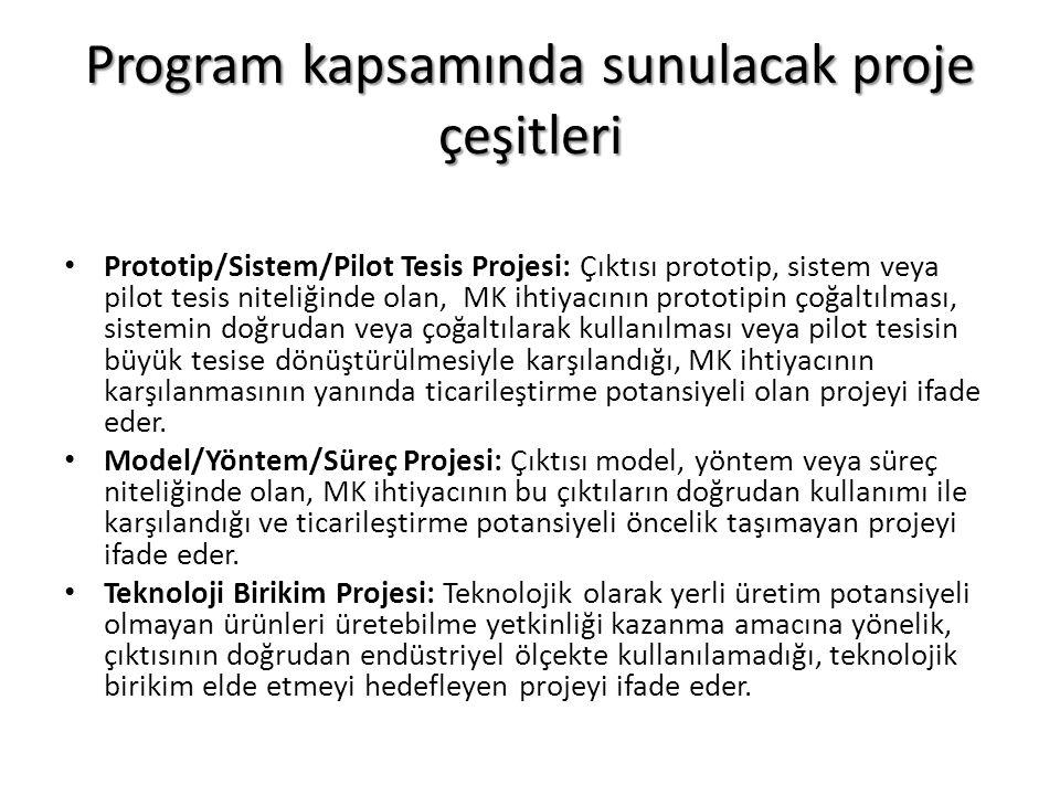 Program kapsamında sunulacak proje çeşitleri Prototip/Sistem/Pilot Tesis Projesi: Çıktısı prototip, sistem veya pilot tesis niteliğinde olan, MK ihtiy