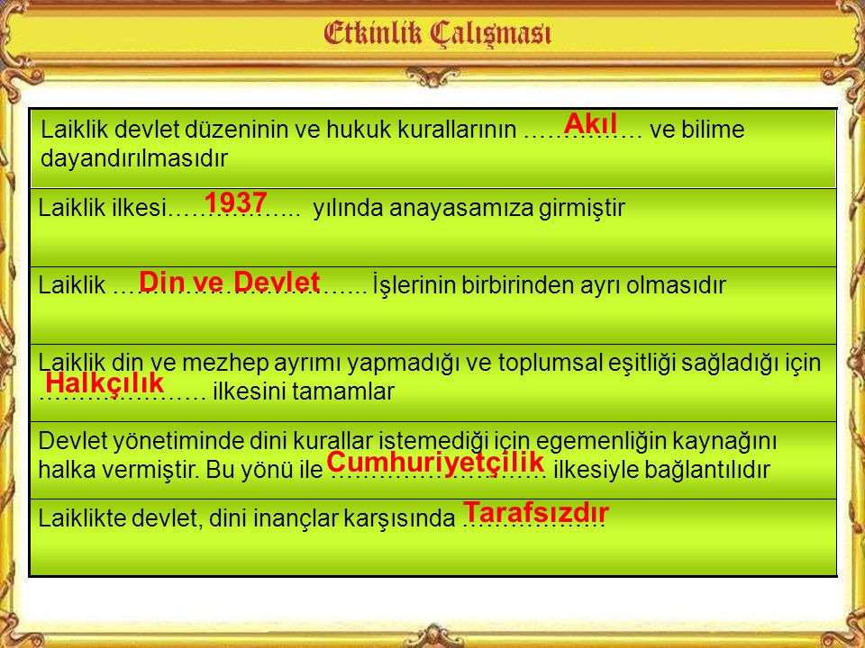 Yeni Türk Devleti inanç özgürlüğünü anayasal garanti altına almıştır.