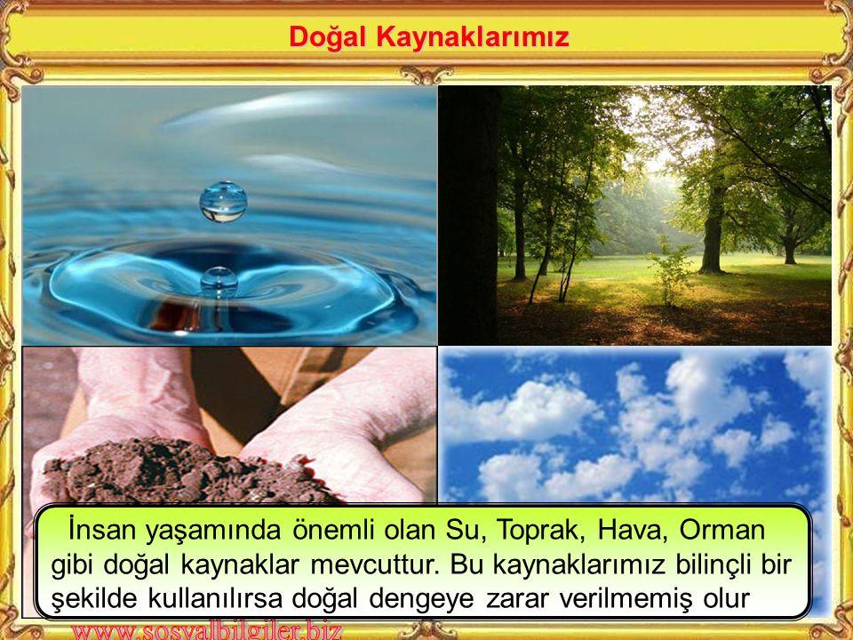 Doğal Kaynaklarımız İnsan yaşamında önemli olan Su, Toprak, Hava, Orman gibi doğal kaynaklar mevcuttur.