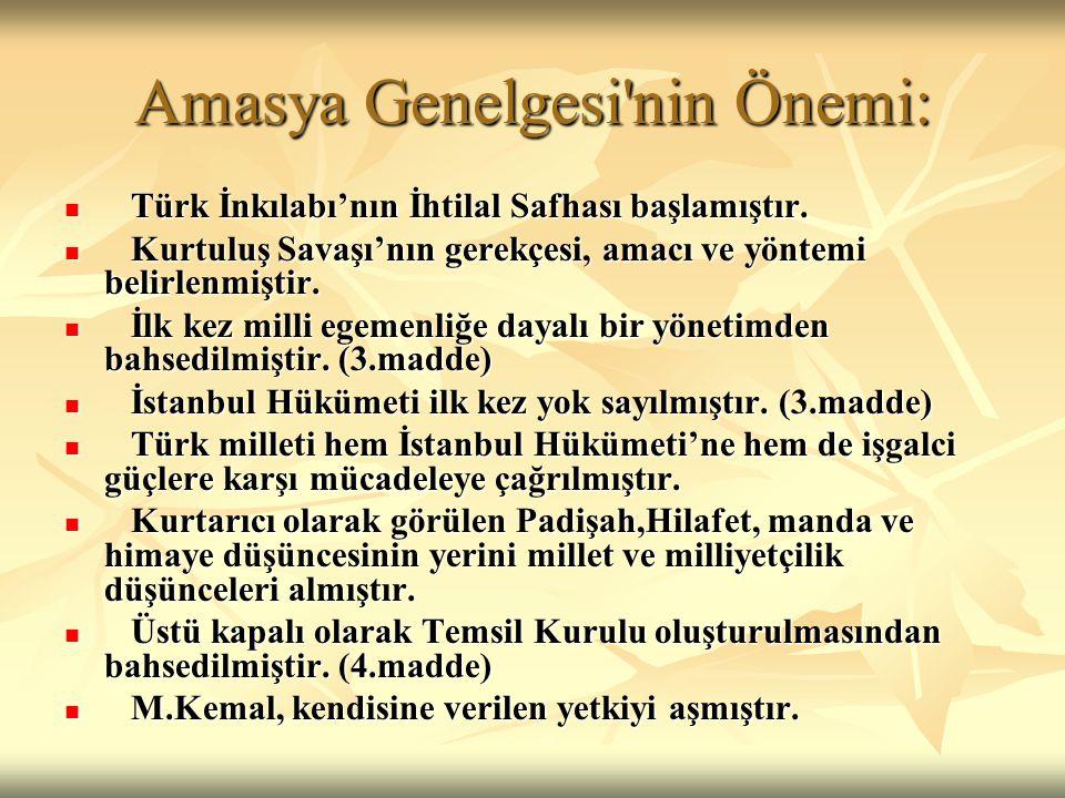 Amasya Genelgesi'nin Önemi: Türk İnkılabı'nın İhtilal Safhası başlamıştır. Türk İnkılabı'nın İhtilal Safhası başlamıştır. Kurtuluş Savaşı'nın gerekçes