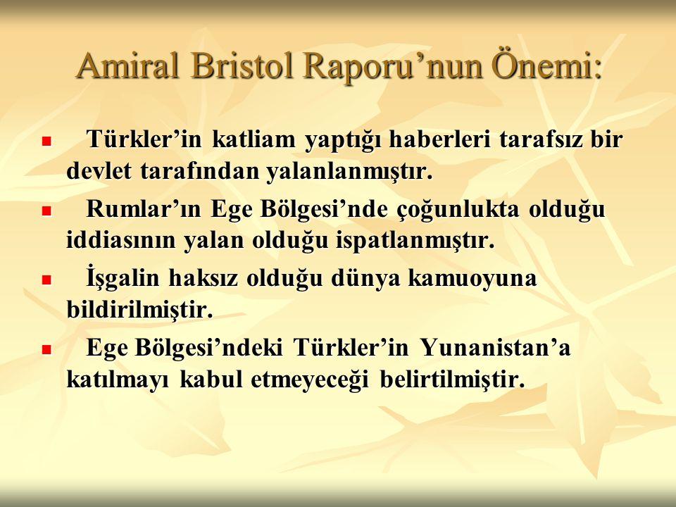Amiral Bristol Raporu'nun Önemi: Türkler'in katliam yaptığı haberleri tarafsız bir devlet tarafından yalanlanmıştır. Türkler'in katliam yaptığı haberl