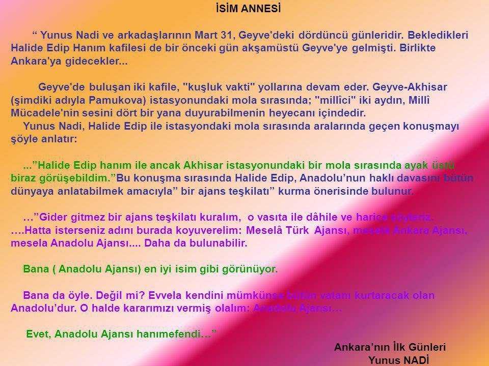 """İSİM ANNESİ """" Yunus Nadi ve arkadaşlarının Mart 31, Geyve'deki dördüncü günleridir. Bekledikleri Halide Edip Hanım kafilesi de bir önceki gün akşamüst"""