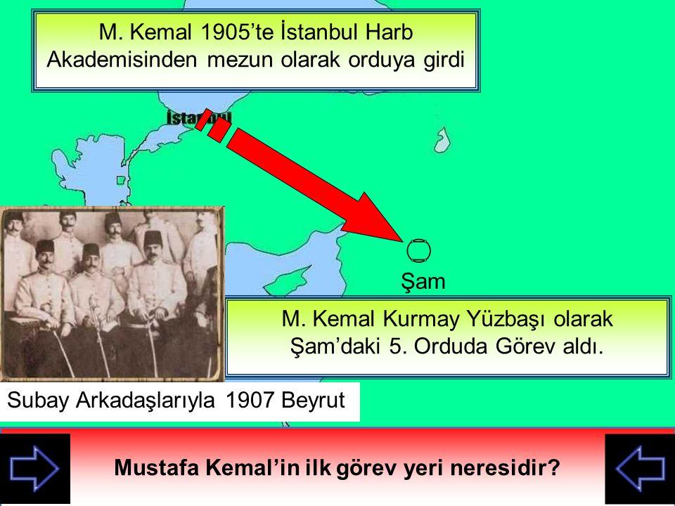 M.Kemal hangi tümende görevliydi. Haritadan yerini gösteriniz.
