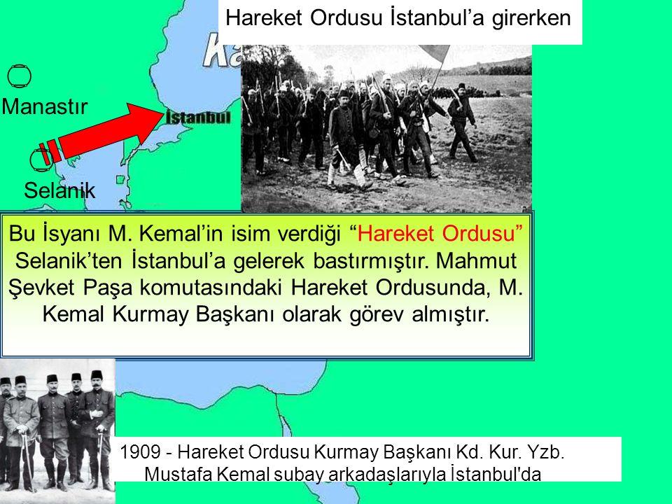 İstanbul'da Meşrutiyet yanlıları ile meşrutiyeti istemeyenler arasında kargaşa çıkmıştı. 13 Nisan 1909'daki bu olaya 31 Mart Vakası denir. 13 Nisan'da