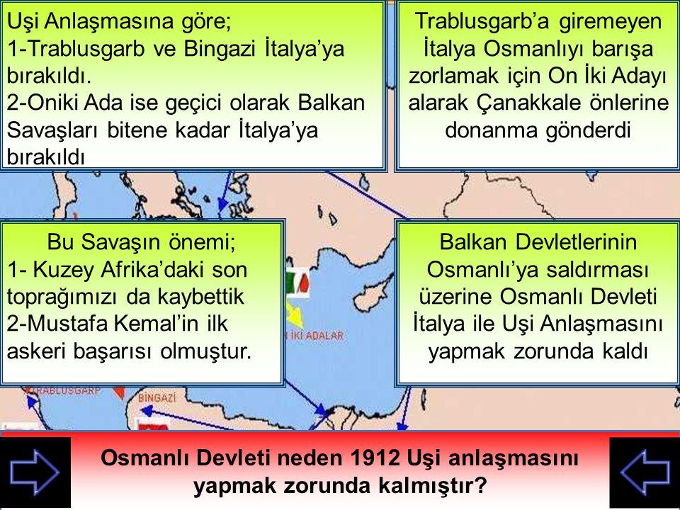 İTALYA Trablusgarb'a giremeyen İtalya Osmanlıyı barışa zorlamak için On İki Adayı alarak Çanakkale önlerine donanma gönderdi Bu anlatılana göre M.
