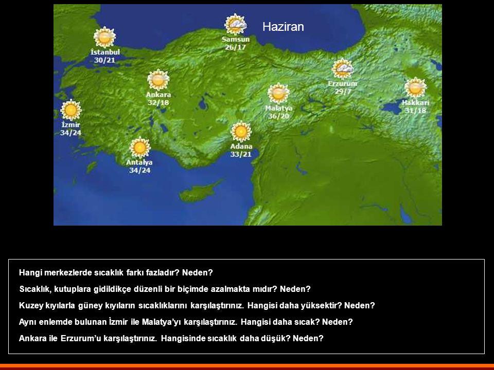 Yukarıdaki haritadaki sıcaklık değeri hangi döneme ait olabilir? En yüksek ve en düşük sıcaklıklar hangi yarım kürelerde yaşanmaktadır? Ekvatordan kut