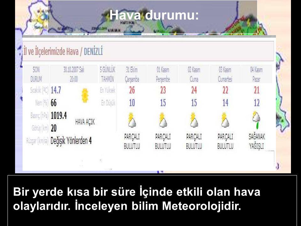 Hava durumu ve iklim. Aşağıda bir günlük hava durumu verilmiştir. Hava durumunda hangi olaylarla ilgili bilgi verilir?