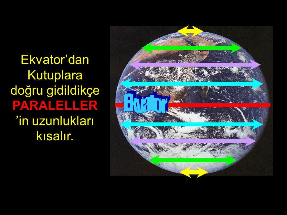 Paralellerin numaraları ekvatordan kutuplara gidildikçe büyür.