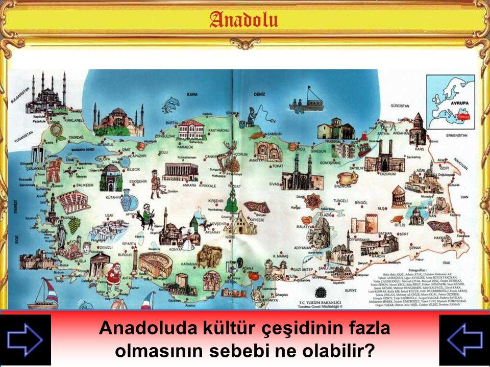 Anadolu nun göç yollan üzerinde bulunması, uygun coğrafi koşullara sahip olması, çağlar boyunca farklı kültür ve medeniyetlerin kurulmasına neden olmuştur.