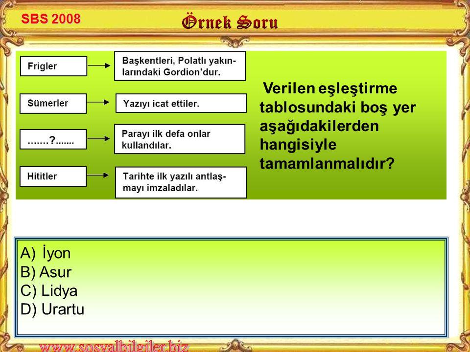 A) İyon B) Asur C) Lidya D) Urartu Verilen eşleştirme tablosundaki boş yer aşağıdakilerden hangisiyle tamamlanmalıdır? SBS 2008