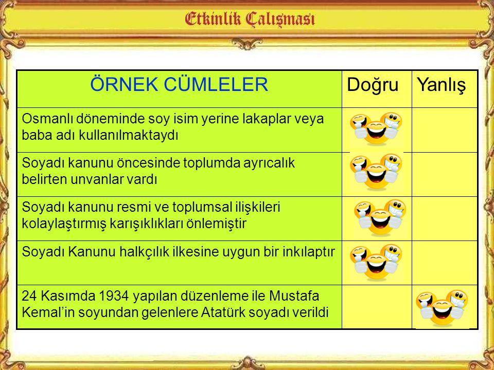 Soyadı kanunu ile Türk ailesine öz adından başka soyadı da taşıma zorunluluğu getirilmiştir. Bu kanun gereği soyadları Türkçe olacak; rütbe memuriyet,