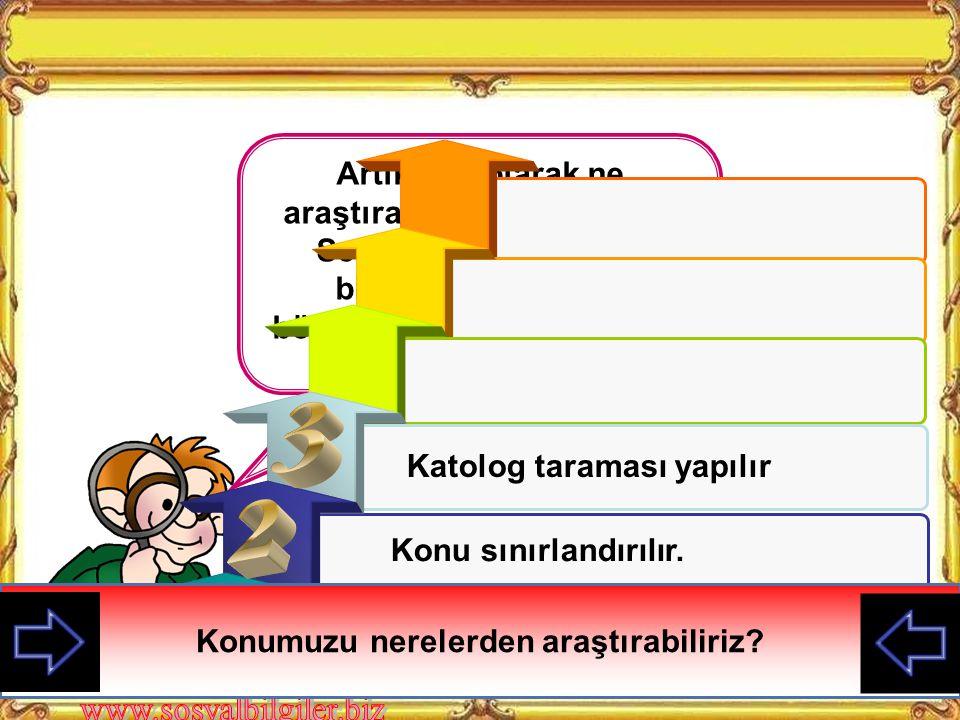 A) Araştırılacak konuyu belirleme B) Elde edilen bilgileri sınıflandırma C) Araştırma konusu ile ilgili bilgi toplama D) Araştırma konusu ile ilgili varsayımlar oluşturma Konuya ilişkin kayna k taram ası yapılır.