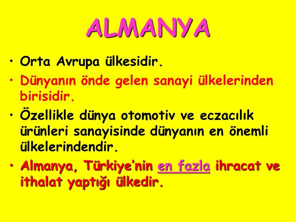 ALMANYA Orta Avrupa ülkesidir.Dünyanın önde gelen sanayi ülkelerinden birisidir.