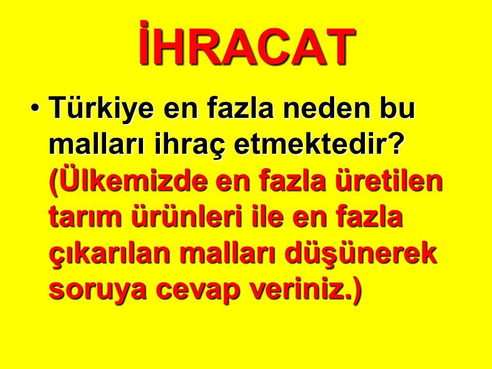 İHRACAT Bu ürünleri diğer ülkelere satmamızın başlıca nedenleri neler olabilir.