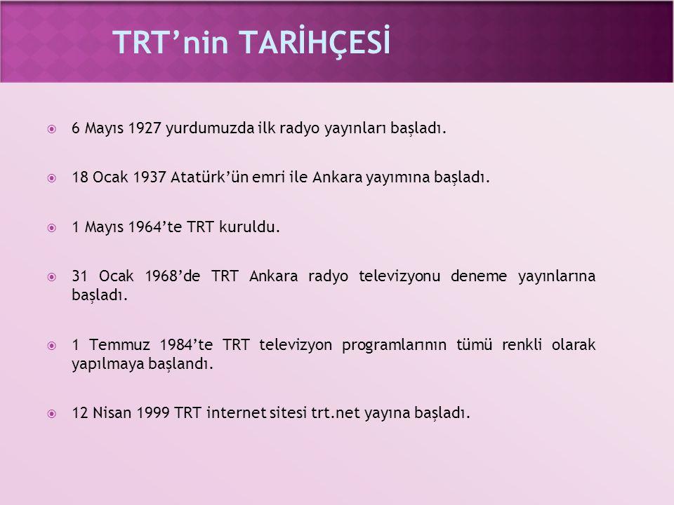 TRT'nin TARİHÇESİ  6 Mayıs 1927 yurdumuzda ilk radyo yayınları başladı.  18 Ocak 1937 Atatürk'ün emri ile Ankara yayımına başladı.  1 Mayıs 1964'te
