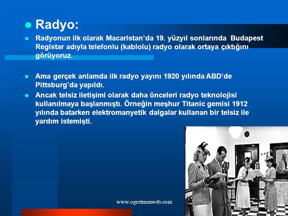 www.ogretmenweb.com Radyo: Radyonun ilk olarak Macaristan'da 19. yüzyıl sonlarında Budapest Registar adıyla telefonlu (kablolu) radyo olarak ortaya çı