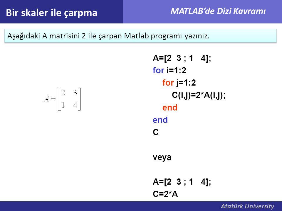Atatürk University MATLAB'de Dizi Kavramı Bir skaler ile çarpma Aşağıdaki A matrisini 2 ile çarpan Matlab programı yazınız. A=[2 3 ; 1 4]; for i=1:2 f