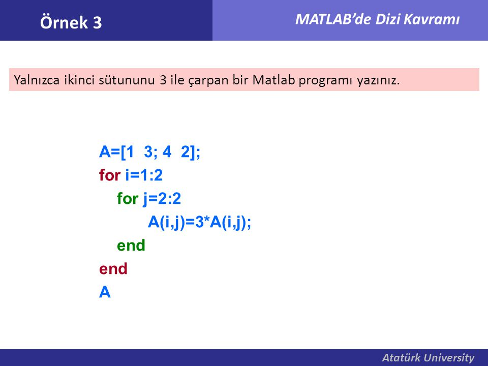 Atatürk University MATLAB'de Dizi Kavramı Yalnızca ikinci sütununu 3 ile çarpan bir Matlab programı yazınız. Örnek 3 A=[1 3; 4 2]; for i=1:2 for j=2:2