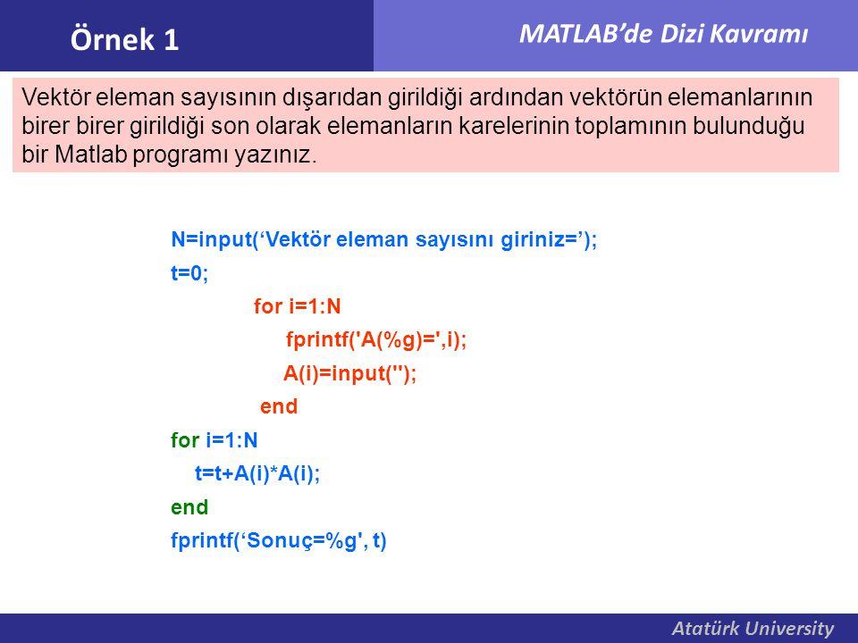 Atatürk University MATLAB'de Dizi Kavramı Örnek 1 Vektör eleman sayısının dışarıdan girildiği ardından vektörün elemanlarının birer birer girildiği so