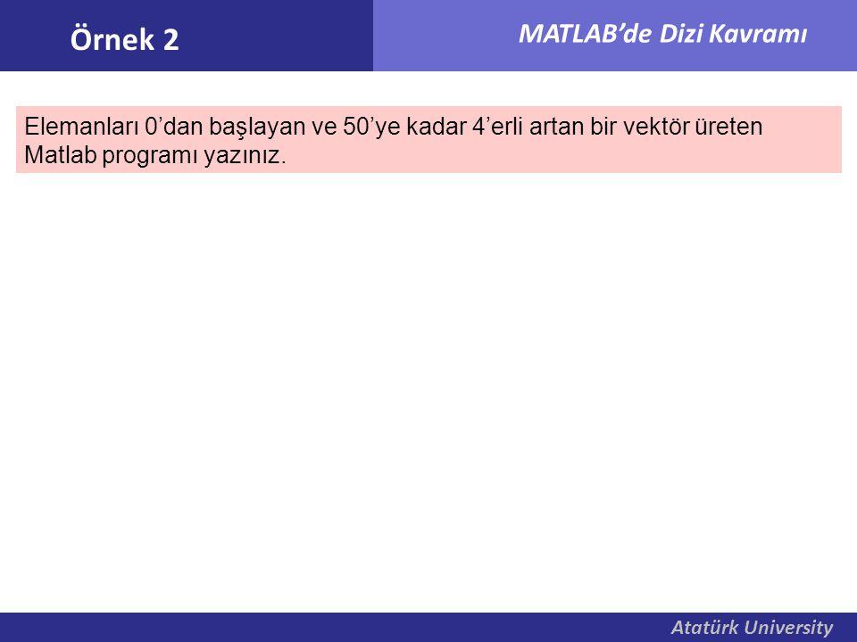 Atatürk University MATLAB'de Dizi Kavramı Elemanları 0'dan başlayan ve 50'ye kadar 4'erli artan bir vektör üreten Matlab programı yazınız. Örnek 2
