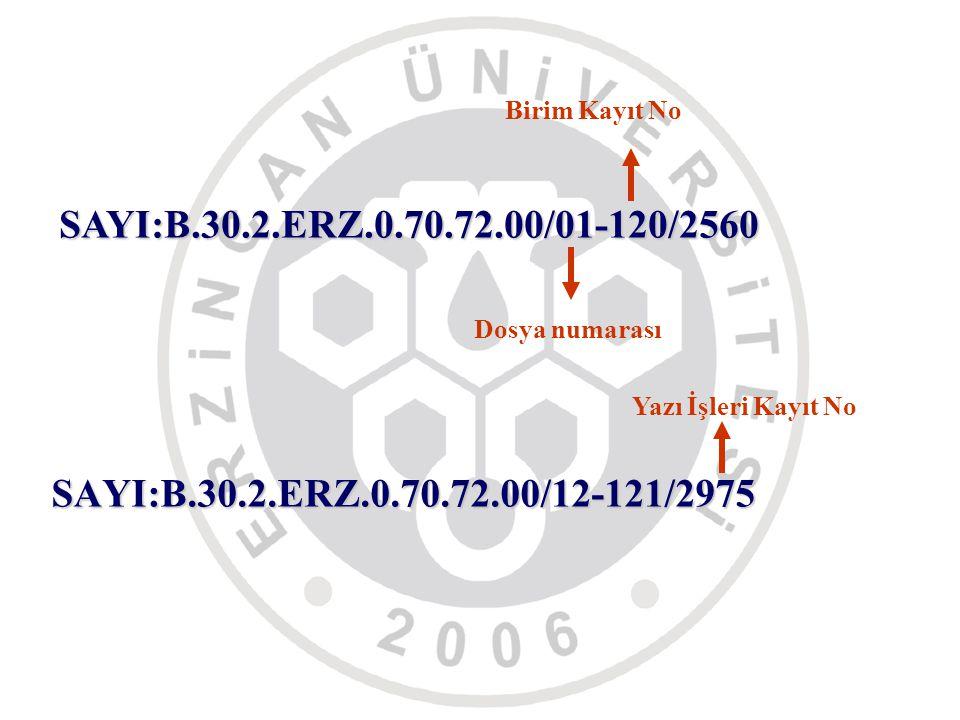 SAYI:B.30.2.ERZ.0.70.72.00/12-121/2975 SAYI:B.30.2.ERZ.0.70.72.00/01-120/2560 Dosya numarası Birim Kayıt No Yazı İşleri Kayıt No