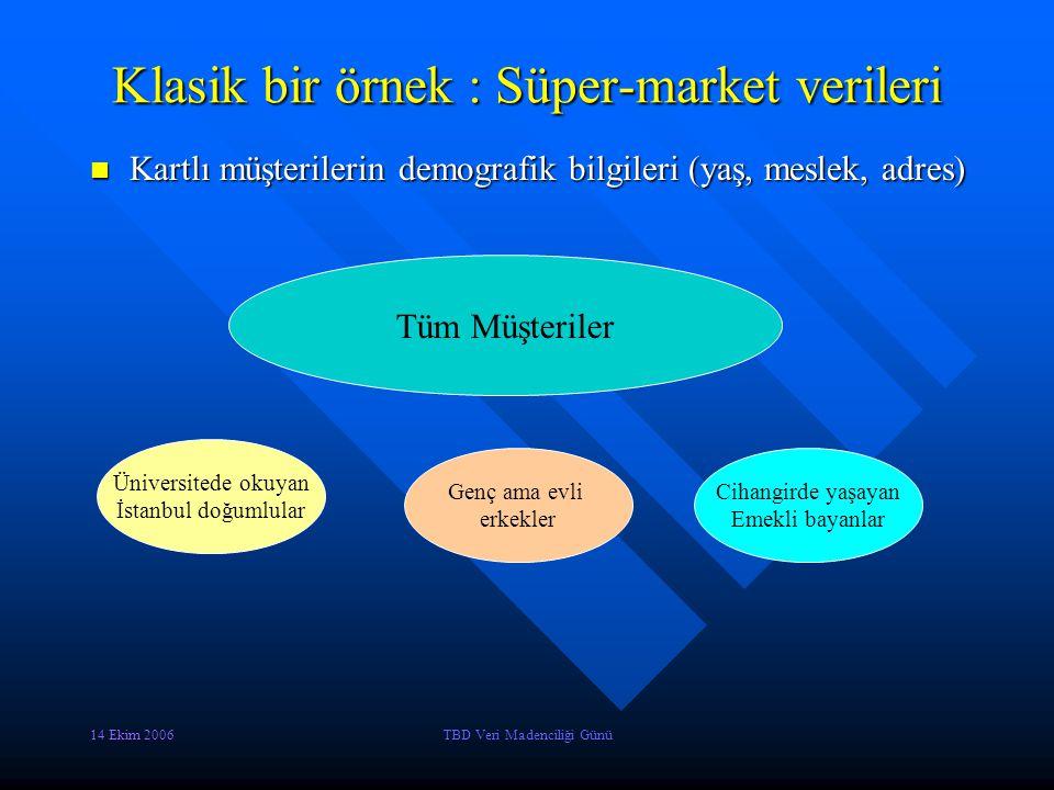 14 Ekim 2006TBD Veri Madenciliği Günü Klasik bir örnek : Süper-market verileri Kartlı müşterilerin alışveriş bilgileri Kartlı müşterilerin alışveriş bilgileri Tüm Müşteriler Temel İhtiyaç Malzemesi alanlar Lüks tüketim Malzemesi alanlar Beyaz eşya bile alanlar
