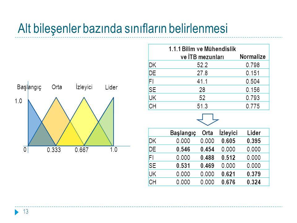 Alt bileşenler bazında sınıfların belirlenmesi 13 0 0.3330.667 1.0 BaşlangıçOrtaİzleyici Lider 1.1.1 Bilim ve Mühendislik ve İTB mezunlarıNormalize DK