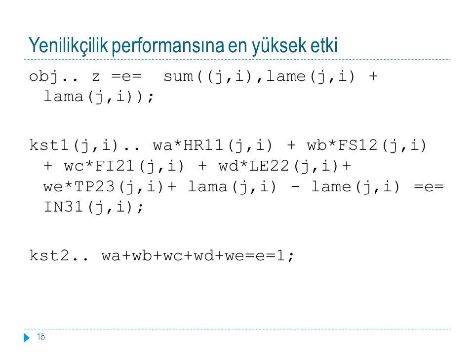 Yenilikçilik performansına en yüksek etki 15 obj.. z =e= sum((j,i),lame(j,i) + lama(j,i)); kst1(j,i).. wa*HR11(j,i) + wb*FS12(j,i) + wc*FI21(j,i) + wd