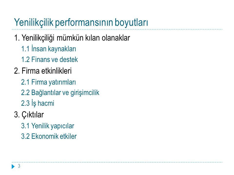 Yenilikçilik performansının boyutları 3 1.