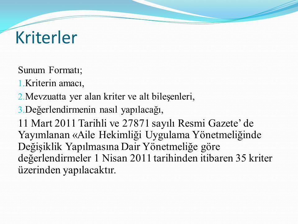 Kriterler Sunum Formatı; 1. Kriterin amacı, 2. Mevzuatta yer alan kriter ve alt bileşenleri, 3. Değerlendirmenin nasıl yapılacağı, 11 Mart 2011 Tarihl