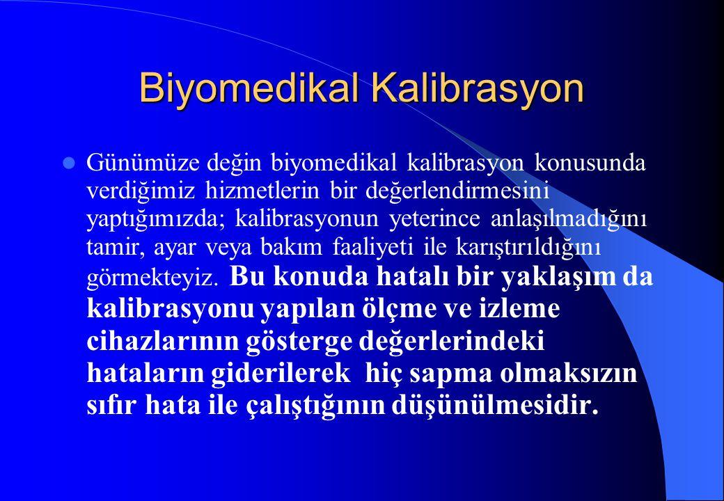 Biyomedikal Kalibrasyon Günümüze değin biyomedikal kalibrasyon konusunda verdiğimiz hizmetlerin bir değerlendirmesini yaptığımızda; kalibrasyonun yete
