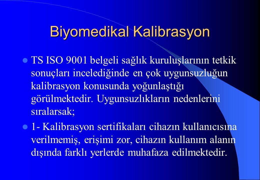 Biyomedikal Kalibrasyon TS ISO 9001 belgeli sağlık kuruluşlarının tetkik sonuçları incelediğinde en çok uygunsuzluğun kalibrasyon konusunda yoğunlaştı
