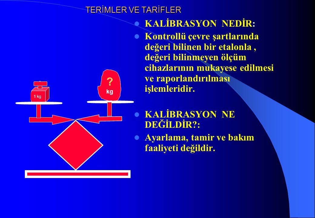 KALİBRASYON HİZMETİNİN GERÇEKLEŞTİRİLEBİLMESİ İÇİN GEREKLİ OLAN ŞARTLAR 1-İzlenebilirliği temin edilmiş Referans Standardlar (Etalon) 2-Kontrol edilebilen çevre şartlarının sağlandığı ortam (Laboratuar) 3-Cihaz başı uygulamalı Kalibrasyon eğitimi almış Sertifikalı Personel 4- Dokümantasyon (Talimatlar, prosedürler)