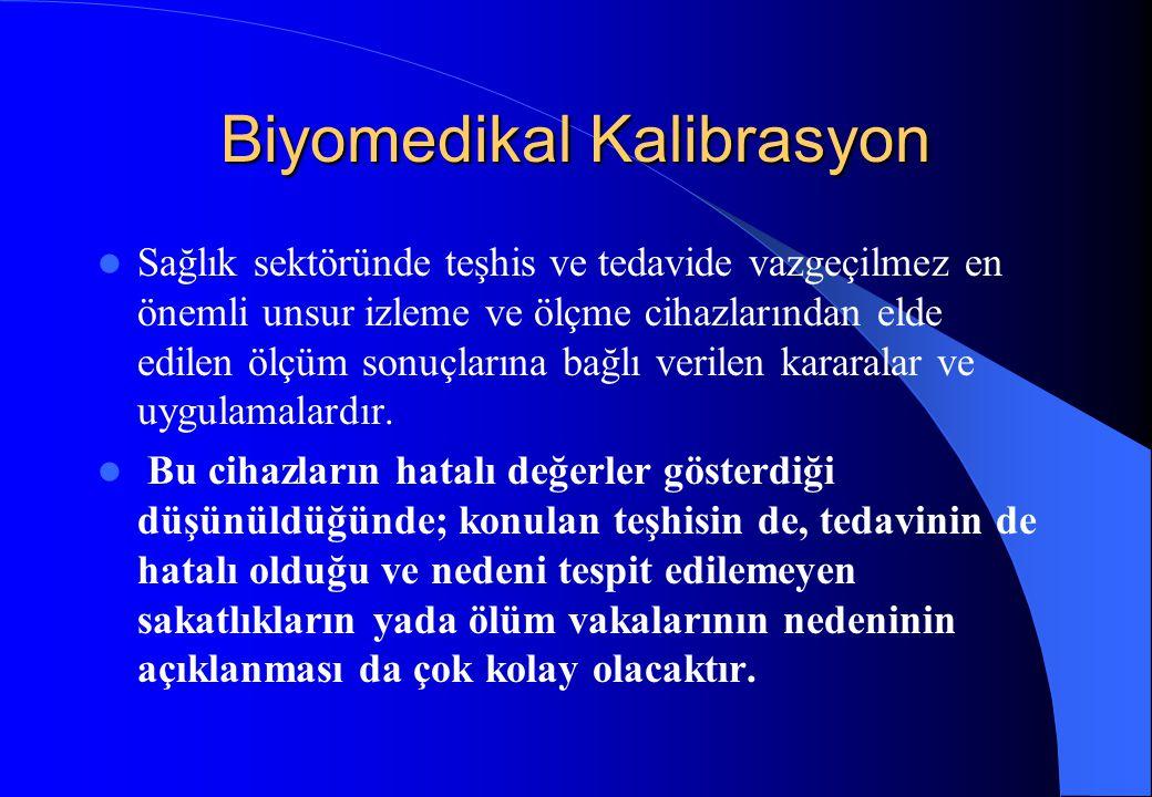 Biyomedikal Kalibrasyon Sağlık sektöründe teşhis ve tedavide vazgeçilmez en önemli unsur izleme ve ölçme cihazlarından elde edilen ölçüm sonuçlarına b