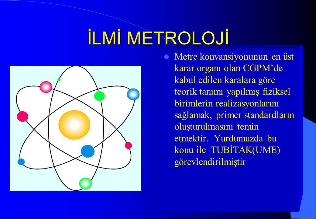 İLMİ METROLOJİ Metre konvansiyonunun en üst karar organı olan CGPM'de kabul edilen karalara göre teorik tanımı yapılmış fiziksel birimlerin realizasyo
