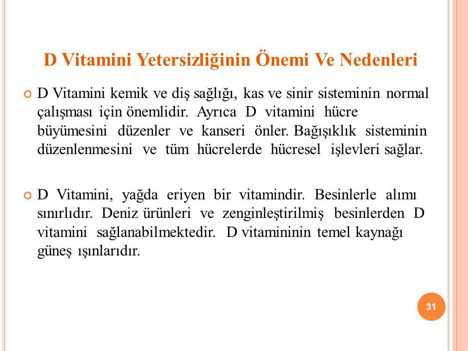 D Vitamini Yetersizliğinin Önemi Ve Nedenleri D Vitamini kemik ve diş sağlığı, kas ve sinir sisteminin normal çalışması için önemlidir.