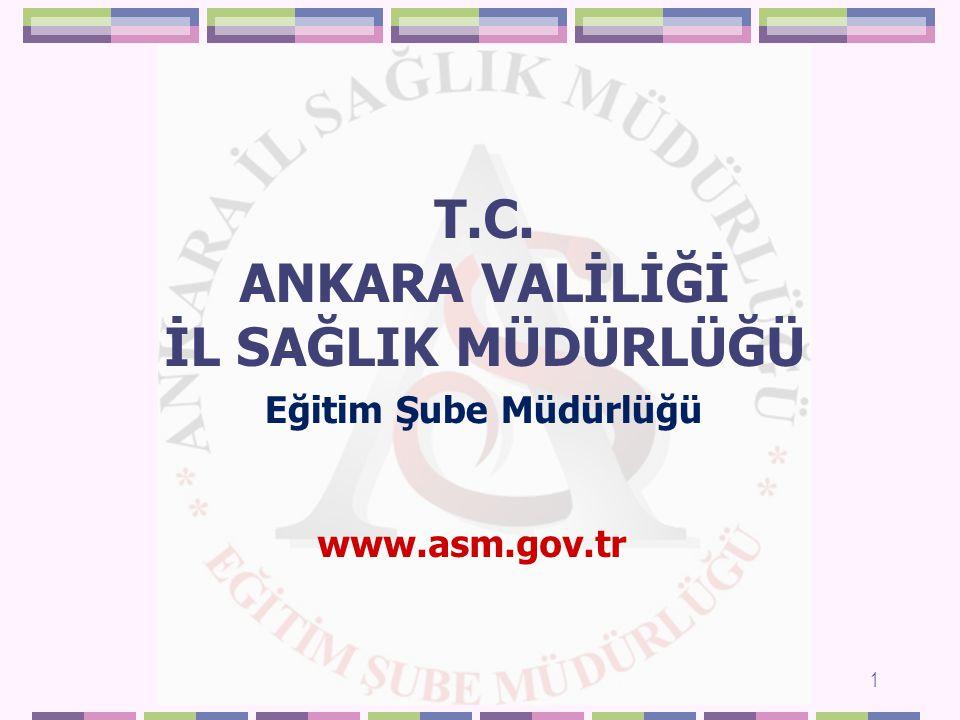 T.C. ANKARA VALİLİĞİ İL SAĞLIK MÜDÜRLÜĞÜ 1 Eğitim Şube Müdürlüğü www.asm.gov.tr