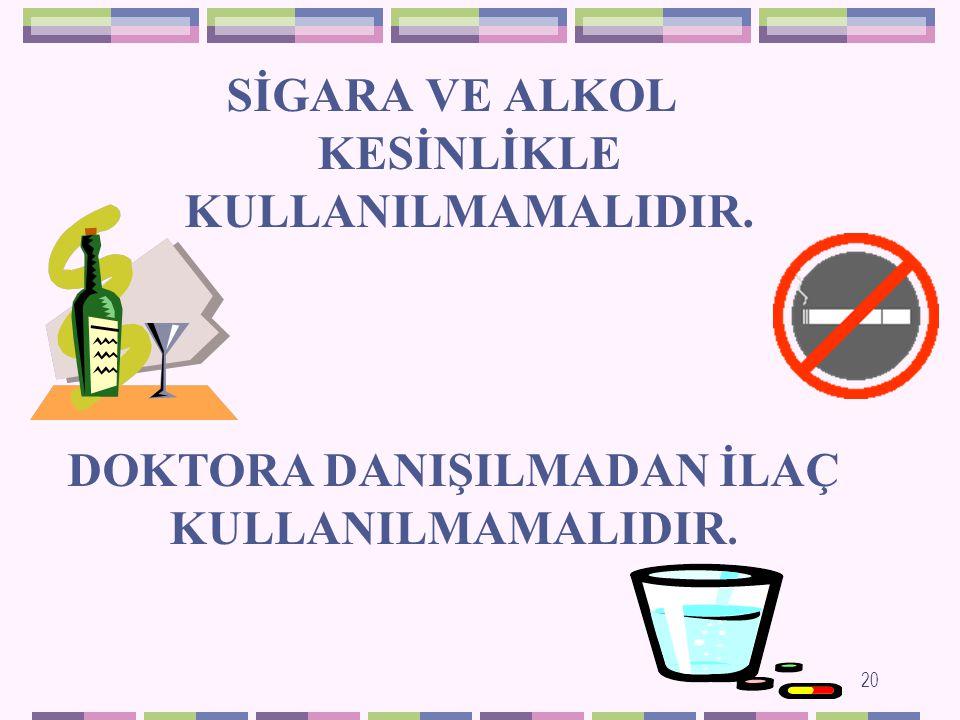GEBELİK DÖNEMİNDE ANNENİN Aşırı ALKOL tüketimi; ANNEDE: Kötü beslenme,vitamin-mineral eksikliğine; BEBEKTE: Büyüme ve gelişme geriliğine; SİGARA kullanılması: BEBEKTE: Düşük doğum ağırlığına,doğduktan sonra astım,alerji gibi hastalıkların görülmesine; KAFEİN içeren kahve,kakao,kolalı içecekler ve çayın aşırı tüketimi: ANNEDE: Kansızlığa BEBEKTE: Düşük riskine,erken doğuma,düşük doğum ağırlığına NEDEN OLMAKTADIR 19