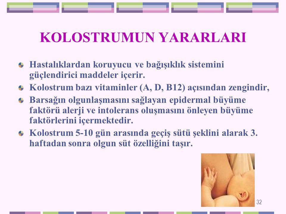 KOLOSTRUM (AĞIZ SÜTÜ) Doğumdan hemen sonra ilk 3-5 günde salgılanan, bileşim özellikleri ile yenidoğan bebeğin ilk günlerdeki gereksinimlerini karşılamak açısından büyük önem taşıyan süttür.