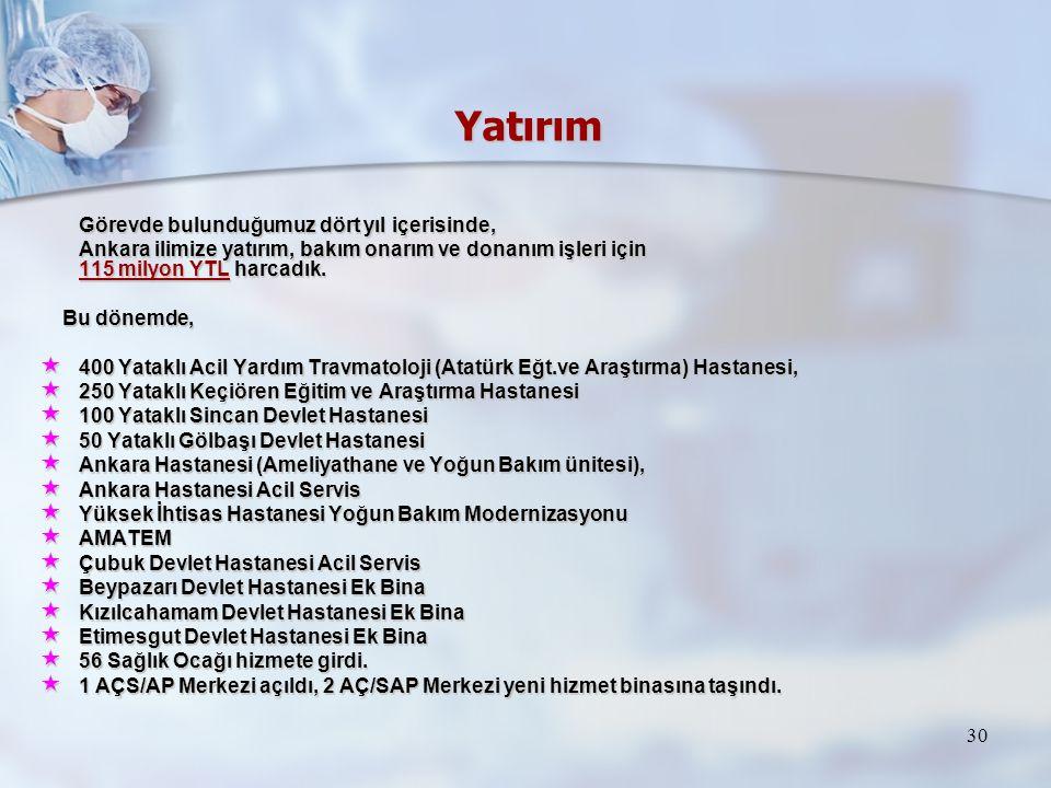 30 Yatırım Görevde bulunduğumuz dört yıl içerisinde, Görevde bulunduğumuz dört yıl içerisinde, Ankara ilimize yatırım, bakım onarım ve donanım işleri